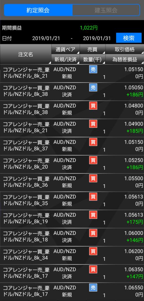 トライオートFXの約定照会2019-01-31
