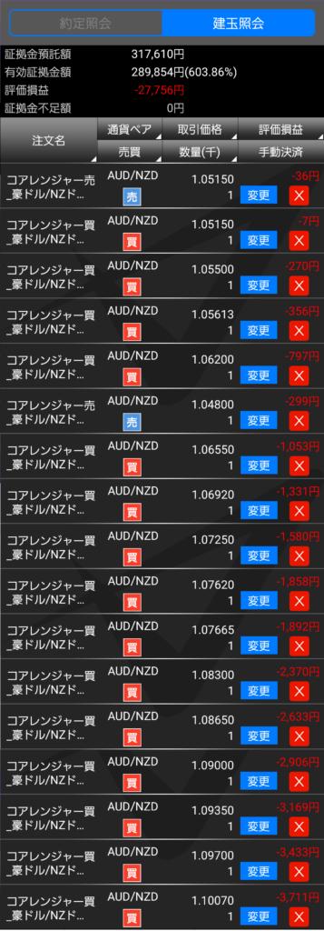 トライオートFXの建玉照会2019-01-31